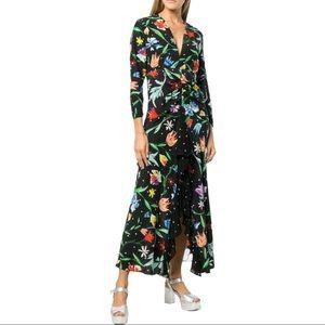 RIXO London Noleen Floral Print Silk Dress